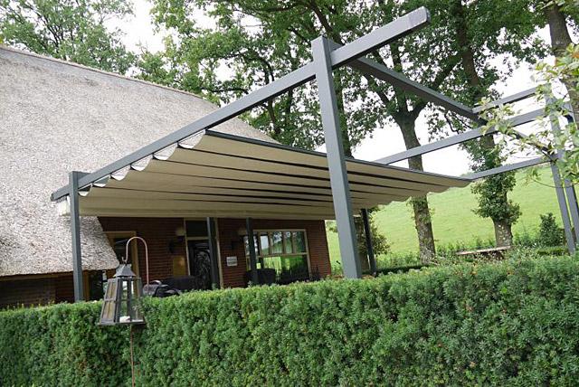 Doek terrasoverkappingen haak zonwering - Overdekt terras in aluminium ...